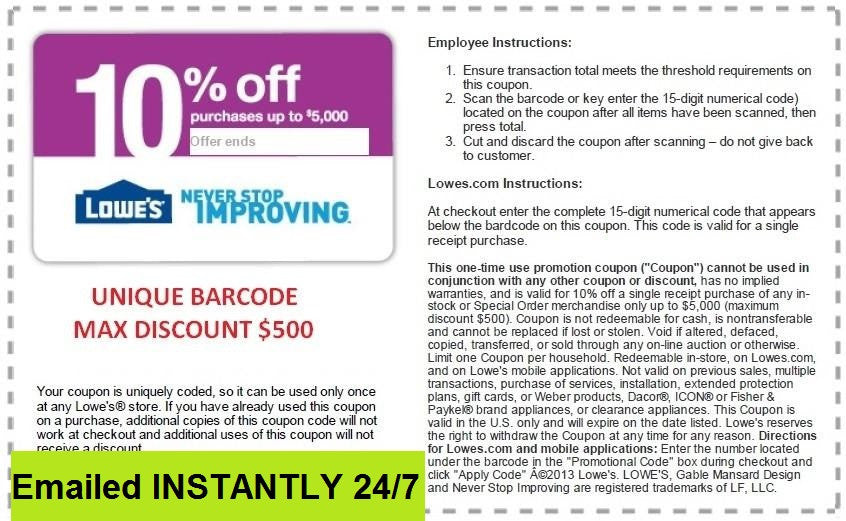 image relating to Lowes Coupon Printable identify 10 Discount coupons - EMAILED EXP 9/30/2019