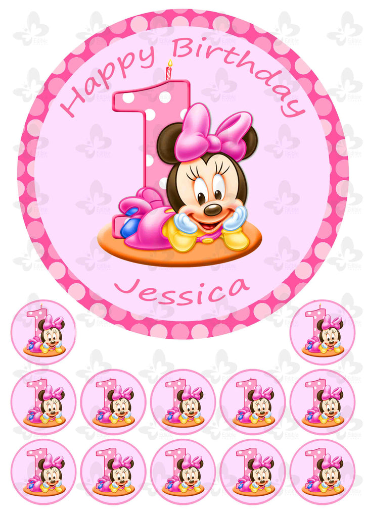 Magnificent Minnie Mouse 1St Birthday Personalised Edible Cake Topper Plus 12 Personalised Birthday Cards Cominlily Jamesorg