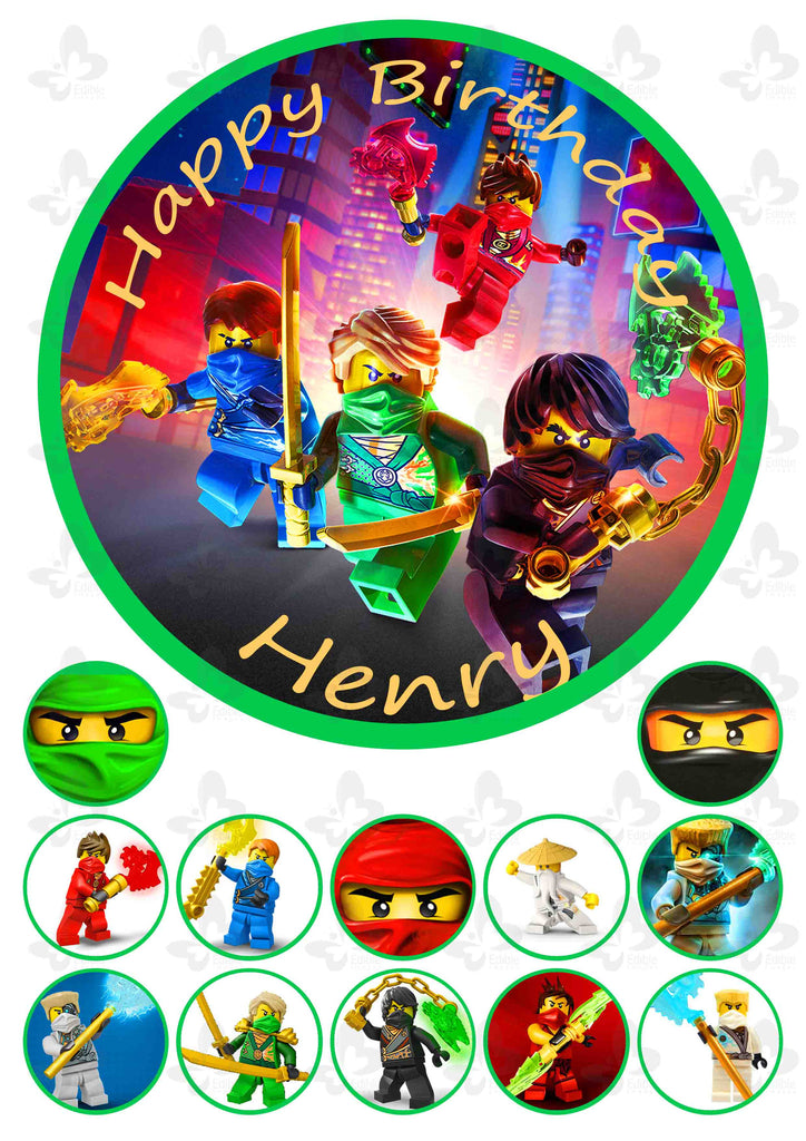 Lego Ninjago: Personalised Edible Cake Topper Plus 12 Cupcake Toppers