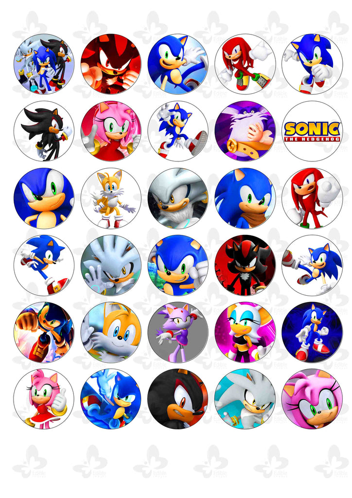 Sonic The Hedgehog: 30 x Edible Cupcake Toppers – Edible ...