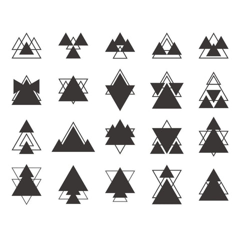 Abstract Black Triangle Set - Temporary Tattoo