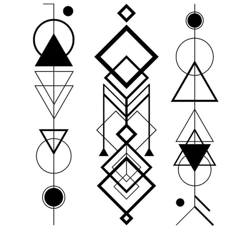 Abstract Circles and Triangles - Temporary Tattoo