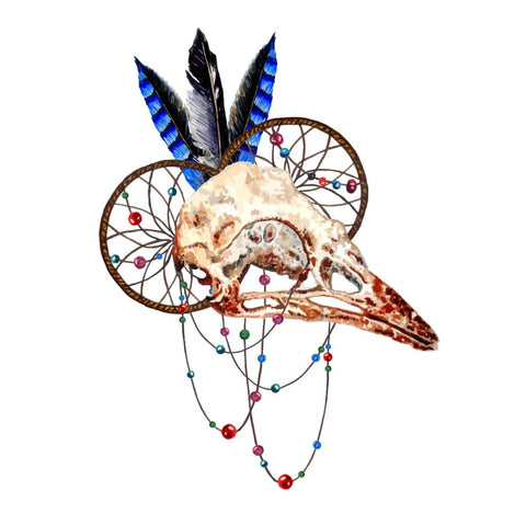 Animal Skull with Feathers - Temporary Tattoo