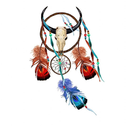 Dreamcatcher and Skull - Temporary Tattoo