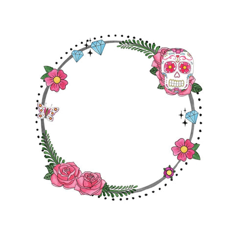 Floral Skull and Diamond Ring - Temporary Tattoo