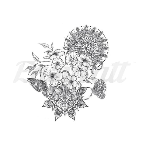 Flowers Butterflies and Mandalas - Temporary Tattoo