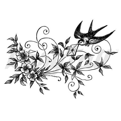 Swallow and Leaves - Temporary Tattoo