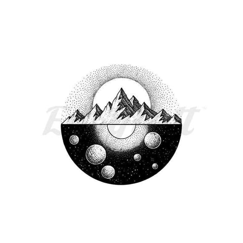 Universe Under Mountains - By C.kritzelt - Temporary Tattoo
