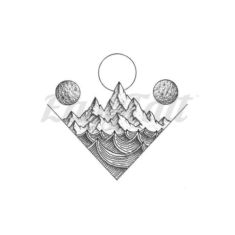 Waves Mountain - By C.kritzelt - Temporary Tattoo