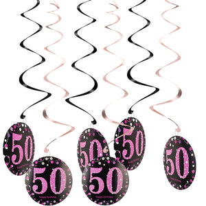 Copy of 50th Birthday Swirl Decorations 6ct (Pink)