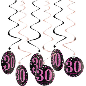 Copy of 30th Birthday Swirl Decorations 6ct (Pink)