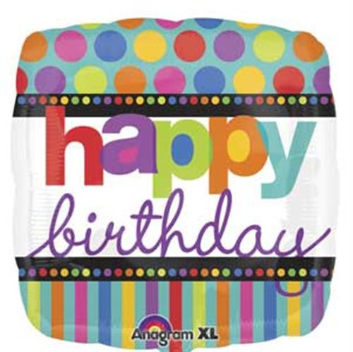 "B027 - Standard 18"" Happy Birthday Polka Dot"