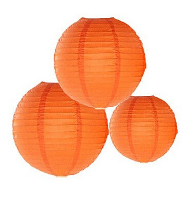 Orange Paper Lanterns 3ct