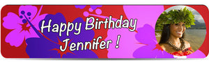 Luau Birthday Banner Red