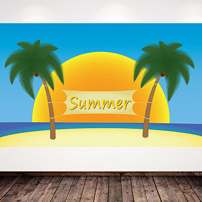 Summer Banner Hanging on Palm Scene Setter