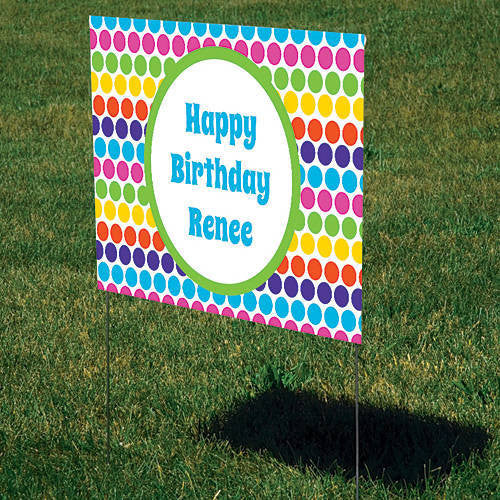 Colorful Fun Dots Personalized Sign