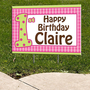 Pink Gingham Personalized Signs
