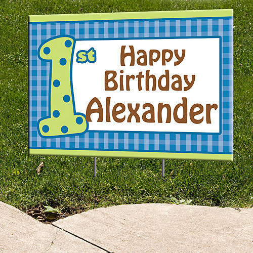 Blue Gingham Personalized Signs