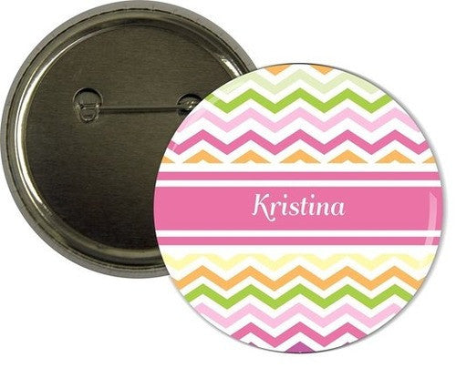 Personalized Pink Chevron Badges