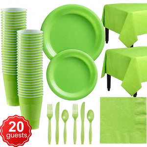 Disposable Tableware Pack (Green) for 20 Guests