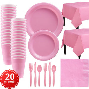 Disposable Tableware Pack (Pink) for 20 Guests