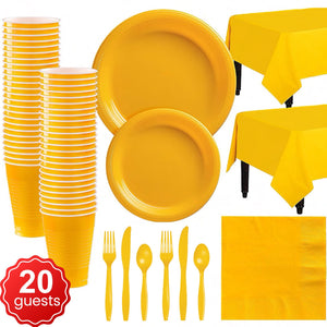 Disposable Tableware Pack (Yellow) for 20 Guests