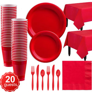 Disposable Tableware Pack (Red) for 20 Guests