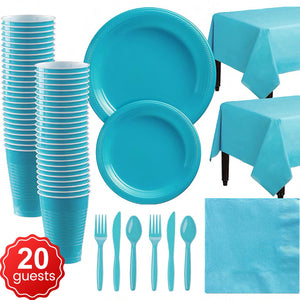 Disposable Tableware Pack (Blue) for 20 Guests
