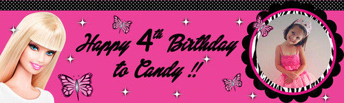 Barbie and Butterfly Birthday Banner