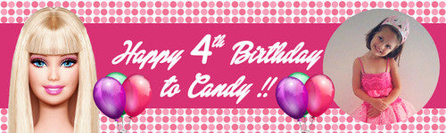 Pink Barbie Birthday Banner