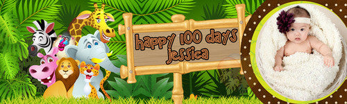 Happy 100 Days Jungle Banner