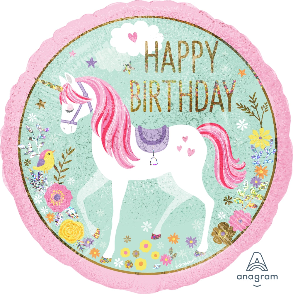 B051 -  Magical Unicorn Happy Birthday Balloon