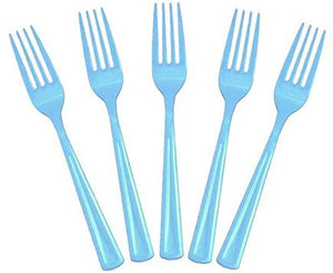 20 Pcs Plastic Disposable Forks (Blue)