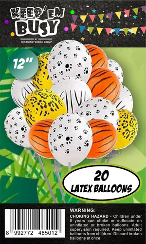 20 Pieces Jungle Animal Print Balloons