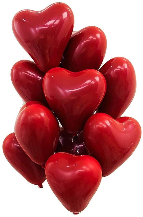12 INCH RED HEART LATEX BALLOONS (10 PCS)