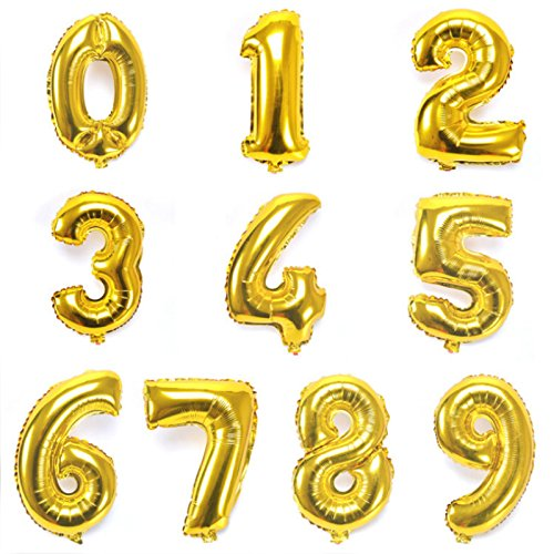 Gold Number Balloons (16 Inch)