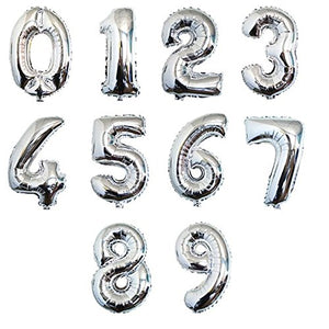 Silver Number Balloons (16 Inch)
