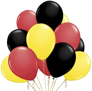 Mickey Theme Latex Balloon 24 Pack red Black and Yellow Balloons