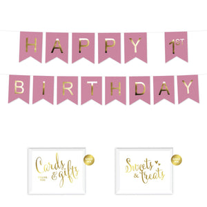 Girl's Happy 1st Birthday Bunting