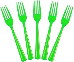 20 Pcs Plastic Disposable Forks (Green)