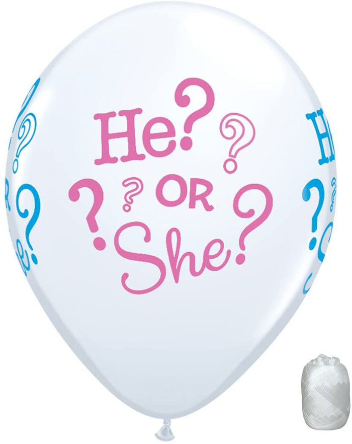"10 Pack 11"" He or She Gender Reveal Pink Blue Latex Balloons"