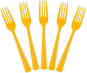 20 Pcs Plastic Disposable Forks (Yellow)