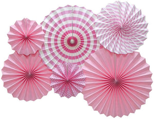 Hanging Paper Fans Party Set (Pink)