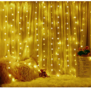 Window Curtain String Light 300 LED 8 Lighting Modes Fairy Lights Remote Control
