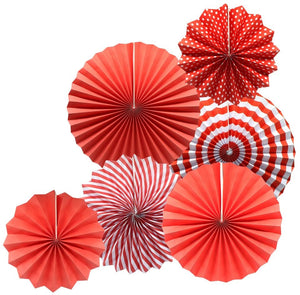 Hanging Paper Fans Party Set (Red)