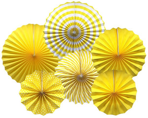 Hanging Paper Fans Party Set (Yellow)