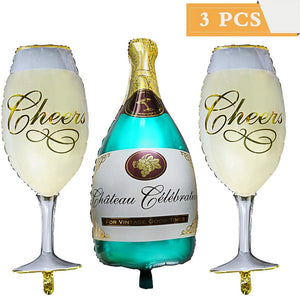 3 Pack Champagne Bottle Balloons Set