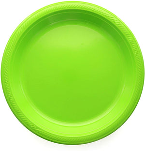 "Green Disposable Plastic Party Plates 8.5"" (10 pcs)"