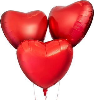 18 INCH RED HEART FOIL BALLOONS (3 PCS)