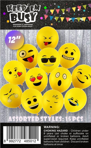 15 Pieces Emoji Latex Balloons
